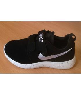 Кроссовки детские НАЙК (Nike Roshe Run) унисекс на липучках черные