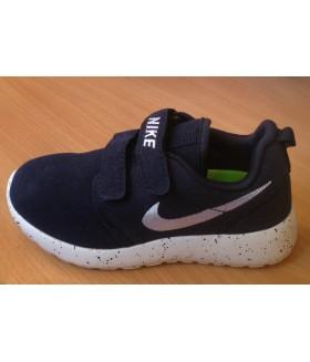 Кроссовки детские НАЙК (Nike Roshe Run) унисекс на липучках темно-синие