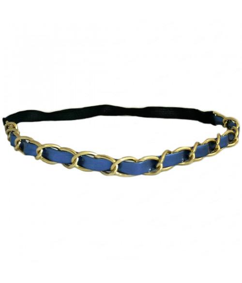 Ободок для греческих причесок сине-золотистый