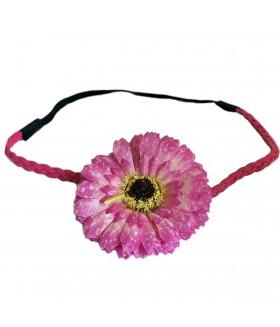 Ободок для греческих причесок с малиновым цветком