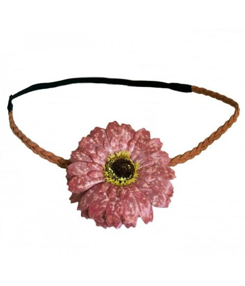Ободок для греческих причесок с цветком розового цвета