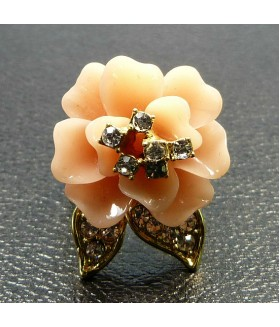 Кольцо цветок розовое с золотом