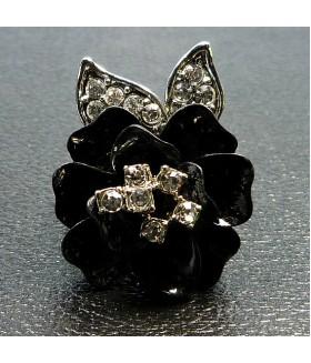 Кольцо цветок со стразами черное