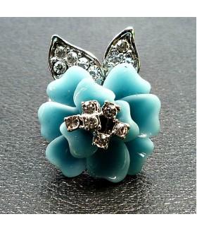 Кольцо цветок со стразами бирюзовое
