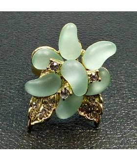 Кольцо цветок со стразами голубое