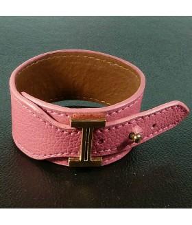 Браслет женский кожаный розовый широкий