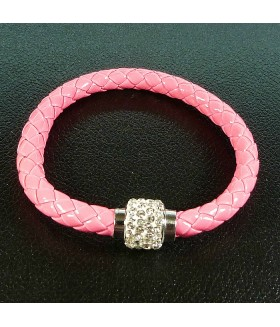 Браслет женский кожаный розовый