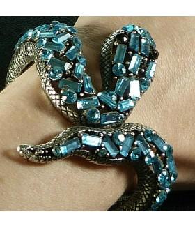 Браслет стильный металлический змейка голубой