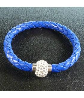 Браслет женский кожаный синий матовый