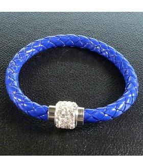 Браслет женский кожаный синий