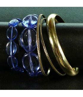 Браслет из пяти рядов металлический голубой