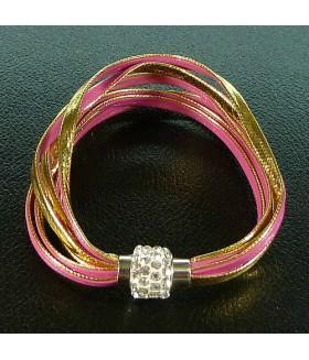 Браслет женский кожаный золотой с розовым с застежкой на магните