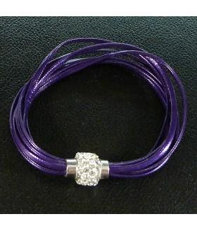 Браслет женский кожаный фиолетовый с застежкой на магните