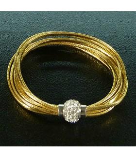 Браслет женский кожаный золотистый с застежкой на магните