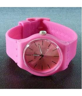 Часы женские Swatch (Свотч) с розовым силиконовым ремешком