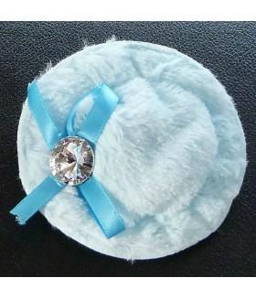 Заколка зажим для волос шляпка голубая