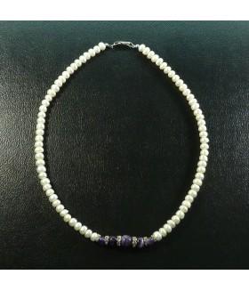Набор колье/бусы + браслет из натурального жемчуга
