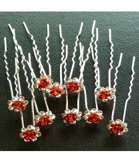 Шпильки для волос с цветком красные (комплект 10 штук)