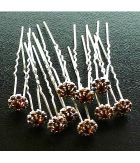 Шпильки для волос с цветком коричневые (комплект 10 штук)
