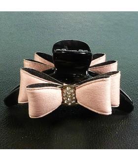 Краб для волос большой с кожаным розовым бантом