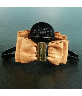 Краб для волос большой с кожаным оранжевым бантом