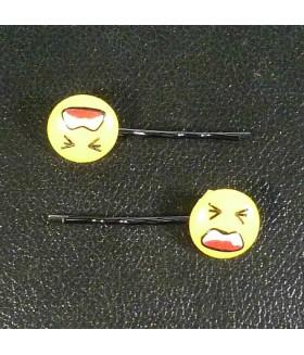 Заколка невидимка для волос желтая смайлик набор 2 штуки
