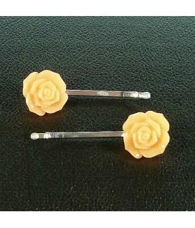 Заколка невидимка для волос оранжевая цветок набор 2 штуки