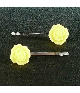 Заколка невидимка для волос желтая цветок набор 2 штуки