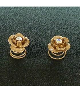 Заколка пружинка для волос цветок металлическая коричневая набор 2 штуки