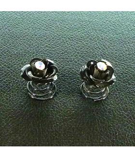 Заколка пружинка для волос цветок металлическая черная набор 2 штуки