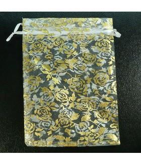 Мешочек подарочный из органзы 12х18 бело-золотистый