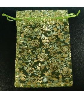Мешочек подарочный из органзы 12х18 зелено-золотистый