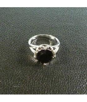 Кольцо из медицинской стали с черным цирконием/цирконом