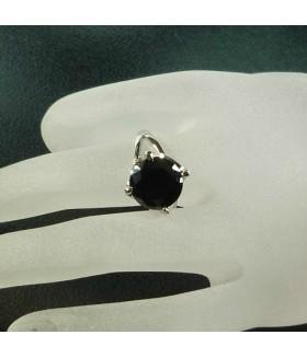 Кольцо из стали с черным цирконом