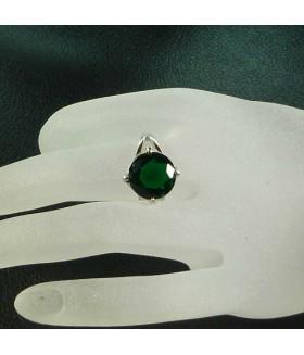 Кольцо из стали с зеленым цирконом