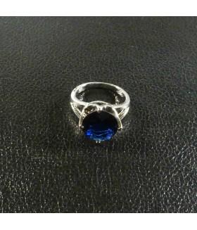 Кольцо из медицинской стали с синим цирконием/цирконом