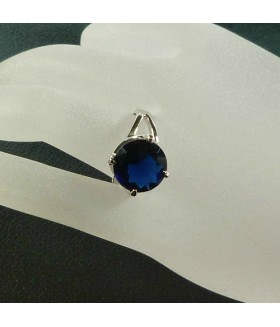 Кольцо из стали с синим цирконом