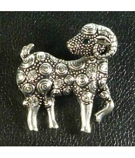 Брошь со стразами овечка