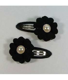 Заколка для волос с цветком черная набор 2 штуки