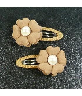 Заколка для волос с цветком коричневая набор 2 штуки