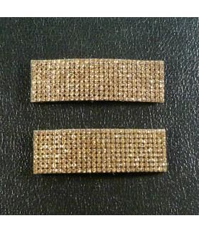Заколка для волос широкая со стразами коричневая набор 2 штуки
