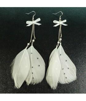 Серьги перья белые