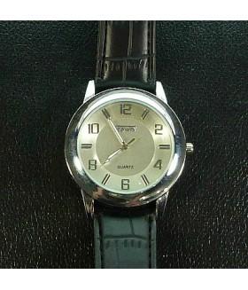 Часы мужские с черным кожаным ремешком