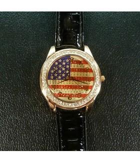 Часы женские с черным ремешком