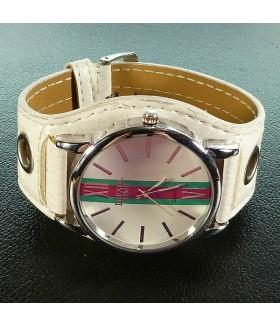 Часы унисекс с широким белым кожаным ремешком