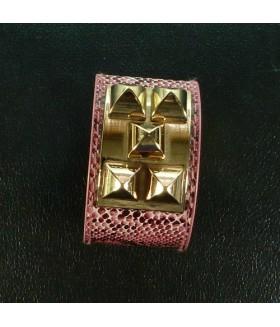 Браслет женский широкий кожаный розовый