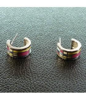 Серьги гвоздики с эмалью цветные
