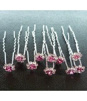 Шпильки для волос с цветком розовые (комплект 10 штук)