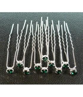 Шпильки для волос со стразами зеленые (комплект 10 штук)