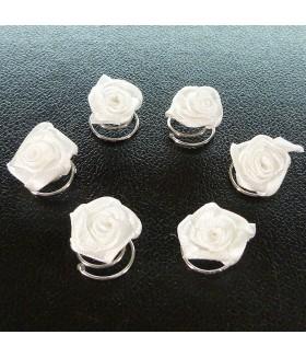 Заколка пружинка для волос цветок белая набор 6 штук